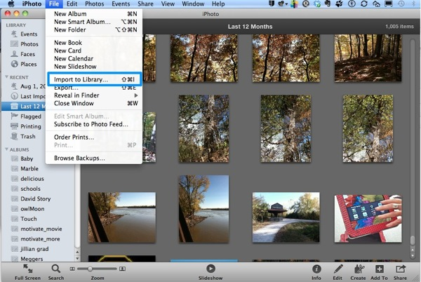 Imort to iPhoto Library