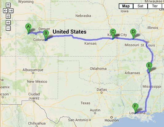 My March 2013 trip itinerary